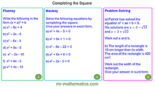 Extended Learning - Completing the Square