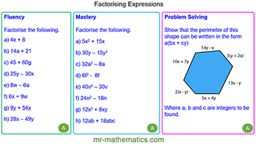 Extended Learning - Factorising Expressions