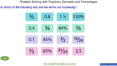 Problem Solving with Fractions, Decimals and Percentages
