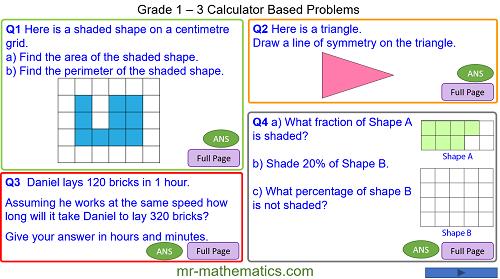 Grade 1 - 3 Calculator Based Problems