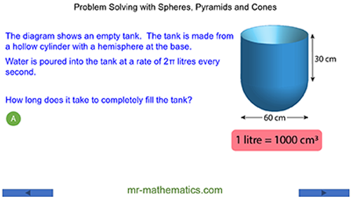 Problem solving with Cones Spheres and Pyramids