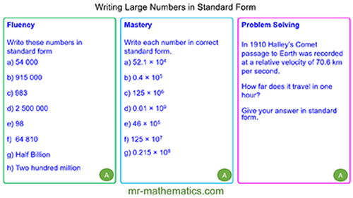 Standard Form - Large Numbers