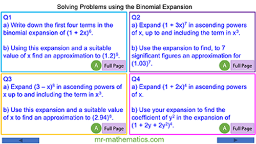 Problems involving Binomial Expansion