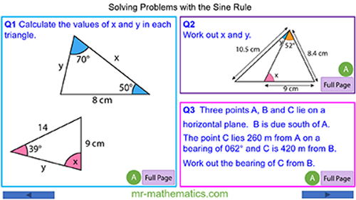 Problems involving the Sine Rule