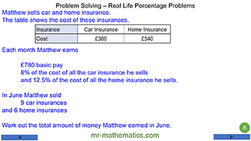 Problem Solving - Real World Percentage Problems