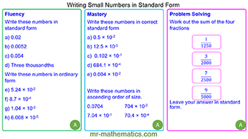 Standard Form - Small Numbers